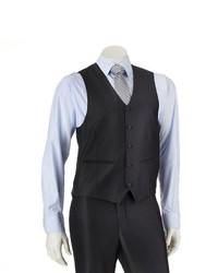 Savile Row Modern Fit Charcoal Sharkskin Suit Vest