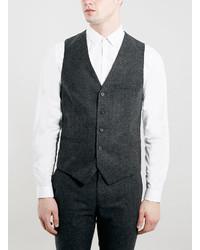 Topman Grey Flannel Suit Vest