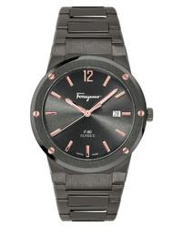 Salvatore Ferragamo F 80 Classic Gunmetal Bracelet Watch
