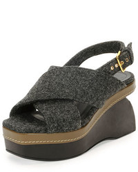 Marni Felt Crisscross Wedge Sandal Dark Gray
