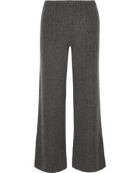 The Row Latone Ribbed Cashmere Wide Leg Pants Dark Gray