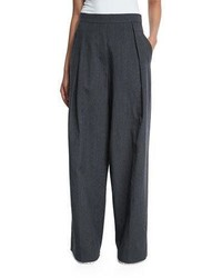Brunello Cucinelli Pleated Front Ultra Wide Leg Pants Dark Gray