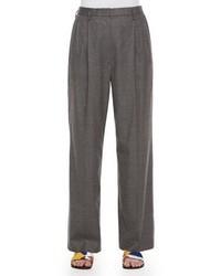Pleated front wide leg birdseye pants gray melange medium 4991275
