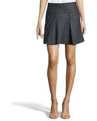 Vince Heather Charcoal Stretch Wool Blend Pleated Mini Skirt