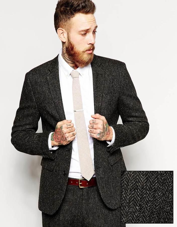 74f48d349fb ... Blazers Asos Brand Slim Fit Suit Jacket In Harris Tweed Fabric ...