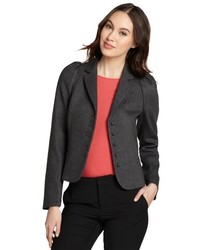 RED Valentino Grey Wool Blend Crop Long Sleeve Blazer