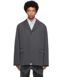 Fumito Ganryu Grey Wool Flattened Blazer