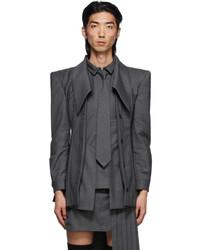 Hood by Air Grey Wool Layered Blazer