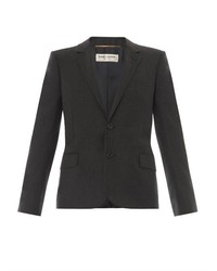 Saint Laurent Notch Lapel Flannel Blazer