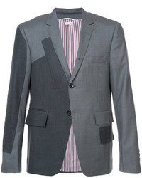 Pattern patchwork single breasted sport coat in grey super 120s twill medium 4977628