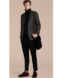 Burberry Slim Fit Check Wool Tailored Jacket