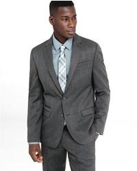 Express Slim Gray Wool Blend Twill Suit Jacket