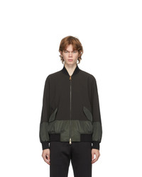 Paul Smith Grey And Green Wool Bomber Jacket