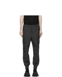 Neil Barrett Grey Wool Carrot Cargo Pants