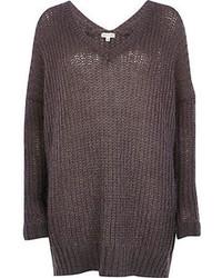 River Island Dark Grey V Neck Sweater Dress