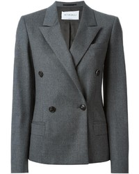 Charcoal Wool Double Breasted Blazer