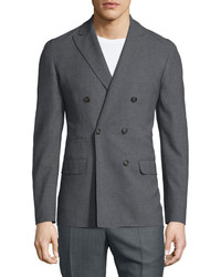 Brunello Cucinelli Double Breasted Wool Jacket Gray