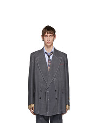 Gucci Grey Classic Sharkskin Double Breasted Blazer