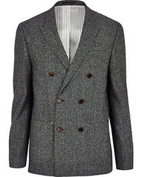 River Island Grey Double Breasted Blazer