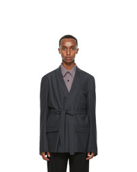 Lemaire Grey Wool Double Breasted Blazer