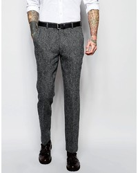 Asos Brand Slim Suit Pants In Gray Harris Tweed