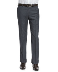 Armani Collezioni Basic Flat Front Wool Trousers Charcoal