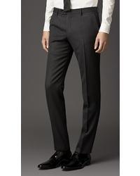 Burberry Slim Fit Velvet Detail Wool Flannel Trousers