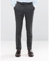 Ben Sherman Camden Super Skinny Suit Pants In Charcoal Overcheck
