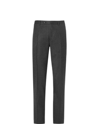 Canali Charcoal Slim Fit Mlange Super 120s Brushed Wool Suit Trousers