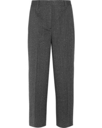 Prada Cropped Wool Blend Mouline Straight Leg Pants