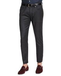 Ermenegildo Zegna Five Pocket Stretch Wool Pants Charcoal