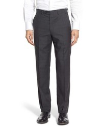 Santorelli Flat Front Plaid Wool Trousers