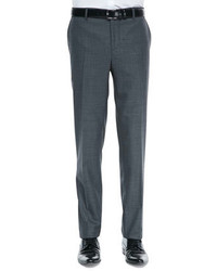 Brunello Cucinelli Flat Front Wool Trousers Charcoal