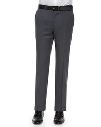 Ermenegildo Zegna Flat Front Wool Trousers Gray