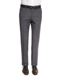 BOSS Genesis Slim Fit Wool Trousers Charcoal