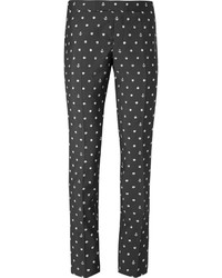 Thom Browne Grey Embroidered Wool And Mohair Blend Trousers