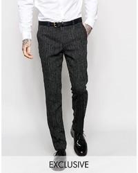 Heart Dagger Herringbone Suit Pants In Super Skinny Fit