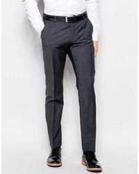 Selected Homme Slim Suit Pants In Charcoal Wool Blend