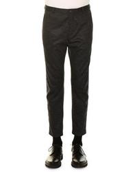 Lanvin Tonal Check Wool Biker Pants Charcoal