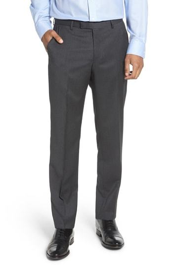 BOSS Leenon Regular Fit Solid Wool Trousers
