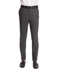 Brioni Micro Tic Flat Front Trousers Charcoal