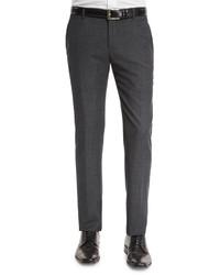 Giorgio Armani Mini Dot Flat Front Wool Trousers Medium Gray