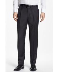 Santorelli Luxury Serge Double Pleated Wool Trousers