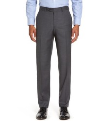 Nordstrom Shop Flat Front Solid Wool Suit Trousers