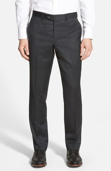 Nordstrom Shop Flat Front Wool Trousers