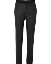 Lanvin Slim Fit Contrast Waist Wool Flannel Trousers
