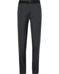 Lanvin Slim Fit Puppytooth Slub Wool And Silk Blend Trousers