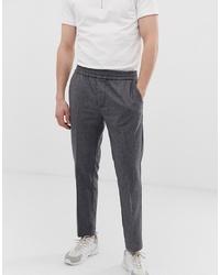 KIOMI Slim Wool Trousers With Elastic Waist In Grey