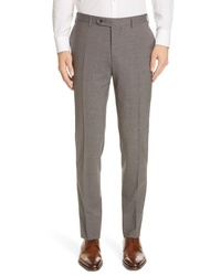 Canali Solid Stretch Wool Trousers