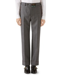 Gucci Stitch Detail Wool Sharkskin Trousers
